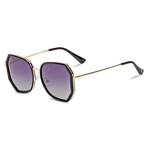 Z&HA Frauen Sonnenbrillen Polarized UV-Schutz-Hexagonal TR90 große Rahmen-und Gradientenlinsen Treiben Brillen mit Fall,Black