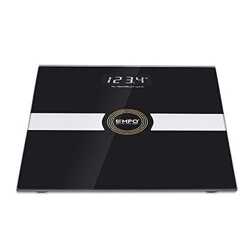[Prime Day Continuer]EMPO Balance Premium Pour Salle De Bain - Balance De Mesure de Poids De Haute Exactitude - Affichage Numérique Extra-large, haute contraste - Mesure le poids avec précision et cohérence - Noir