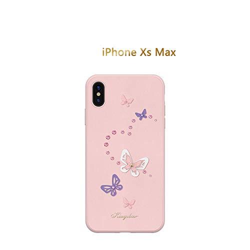Custodia con bordi in silicone 3d in pelle di farfalla for iphone x xs max xr fashion cover posteriore cristalli da custodia swarovski (color : pink, size : iphone xs max)
