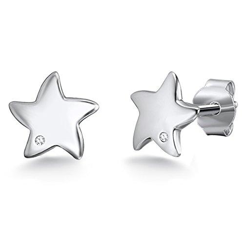 Rafaela Donata - Orecchini a perno a forma di stella - Argento Sterling 925 con (Diamante Forma 925 Orecchini D'argento)
