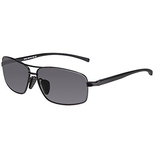 SUNGAIT Herren Ultra-leicht rechteck polarisierte Sonnenbrille 100% UV-Schutz L Schwarzer Rahmen grau Objektiv