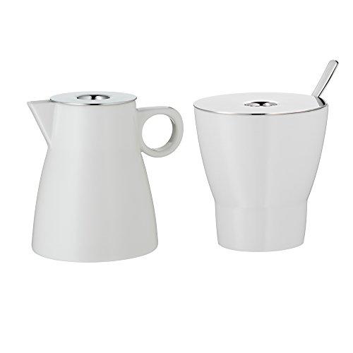 WMF Barista Milch- und Zuckerset, 2-teilig, Sahnekännchen und Zuckerdose mit Löffel, Porzellan, spülmaschinengeeignet