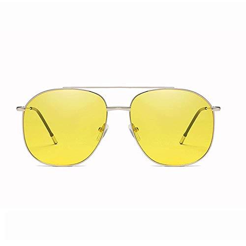 JFFFFWI Ofgcfbvxd-gla Mode Unisex Driving Sonnenbrille Runde Polarisierte Sonnenbrille Verspiegelte Linse Unisex Brille Für Männer \u0026 Frauen Ultraleicht (Farbe: Gelb, Größe: Casual Größe)