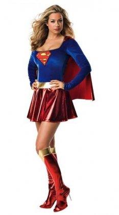 Frauen-Kostüm Supergirl, Blau Rot Gold, Damen-Superhelden-Kostüm für Party / Junggesellinnenabschied / Halloween, Größe (Dress Fancy Womens Kostüme Passende)