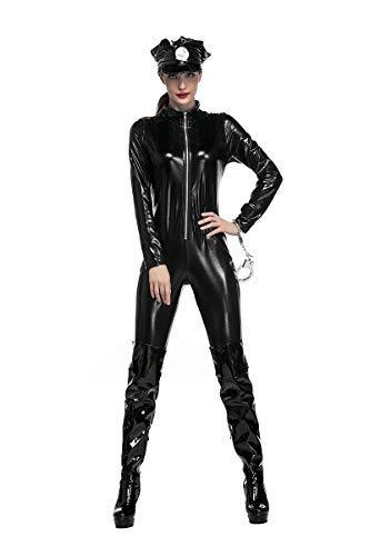 Fanessy. Sexy Catwoman Kostüm Set für Damen Cat Girl Kostüm Catsuit Schwarz Katze Cosplay Jumpsuit Verkleidung Outfits für Fasching Halloween Karneval Party (Halle Berry Kostüm)