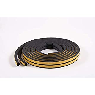 10m Assorted Profile Draught Excluder - EPDM Rubber Draught Seal and Foam for Window or Door (Profile D, Black)
