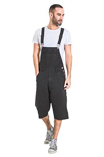 24a671b69b0c6 USKEES Peto Corto Hombre - Negro Pantalones Cortos de Mezclilla Dungaree  BLAKEBLACK-XXXXL-44