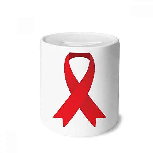 DIYthinker Rot Ribbon HIV Bewusstseins-Welt-AIDS-Tag Geld-Kasten Sparkassen Keramik Münzfach Kinder Erwachsene 3.5 Zoll in Height, 3.1 Zoll in Duruchmesser Mehrfarbig -