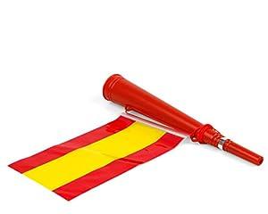 Atosa-22359 Atosa-22359-Corneta con Bandera De España 36X6-Mundial De Fútbol Y Deportes, Color Rojo y Amarillo (22359)