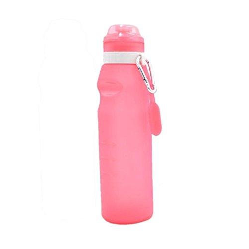 Kingule zusammenklappbar Flasche Wasser mit Auslaufsicher Ventil-Silikon Zusammenklappbar Squeeze Drink Wasser Cup für Reisen Camping Wandern, rose