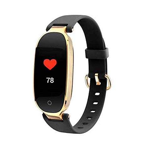 QUARK Fashion Woman Ladies S3 Smart Watch Fitness Band GPS Tracker with Heart Rate Monitor,Black