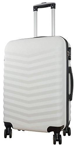 1 Koffer Hartschale Größe L 3D Struktur Farbe weiß ABS Trendyshop365