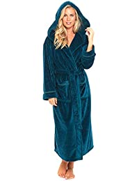b5e0c7fda5 Slumber Hut® Ladies Hooded Luxury Fleece Dressing Gown Womens Warm Snuggle  Embossed Robe Teal Blue