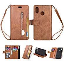 Yobby Reißverschluss Brieftasche Hülle für Huawei P20 Lite, Huawei P20 Lite Handyhülle,Slim Luxus Leder Flip Case [9 Kartefach] Magnetisch mit Stand und Handschlaufe Schutzhülle-Braun