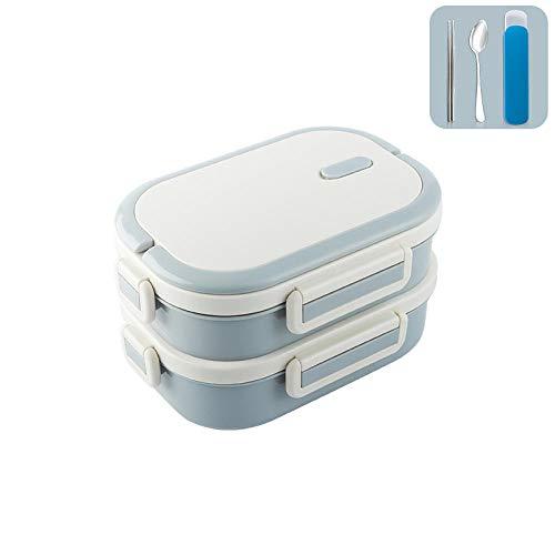 iHouse Lunchbox Edelstahl + Geschirr, Isoliertes 2-stöckiges Fach,Auslaufsicher,Mit Griff, Tragbarer Lebensmittelbehälter für Kinder und Erwachsene -