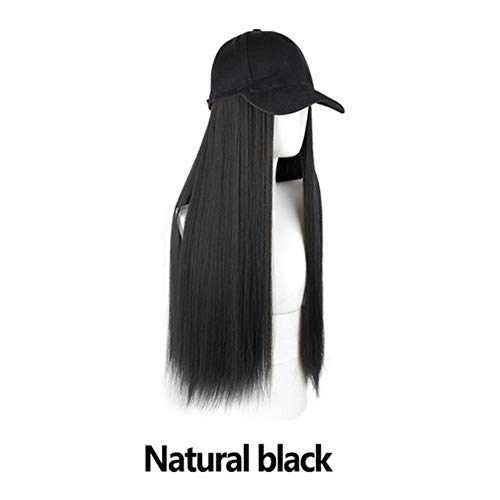 WULIAN Mode Frauen Strickmütze Baseball Cap Perücke Glattes Langes Haar Großes welliges lockiges Haar Extensions Mädchen Baskenmütze Design Simulation Haar, B-Natural Black, 45-60Cm