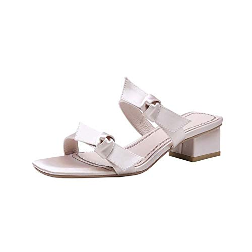 XLY Frauen Sommer Open Toe Satin Bowknot Sandalen Low Heeled Slingback Slippers Slip On Slides Schuhe,Champagne,39 Heeled Slingback