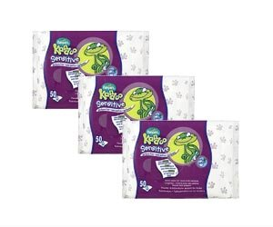 3x Kandoo feuchte Toilettentcher Sensitiv / für empfindliche Haut / 50 Tücher je Packung (Kandoo Feuchttücher)