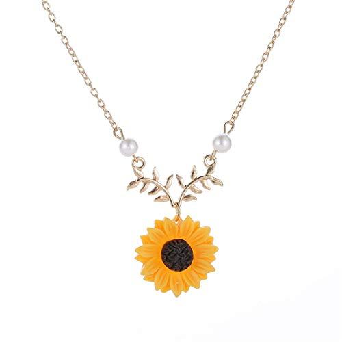 LGJJJ Sunflower Halsketten Schöne Einstellbare Frauen Gefälschte Perlenkette Nette Blume Blatt Liebhaber Schlüsselbein Kette, Gold Farbe