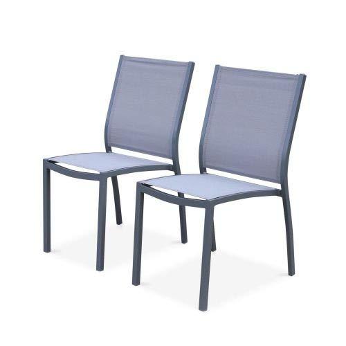 Alice's Garden Lot de 2 chaises - Orlando Gris/Gris Clair - en Aluminium Blanc et textilène Taupe, empilables