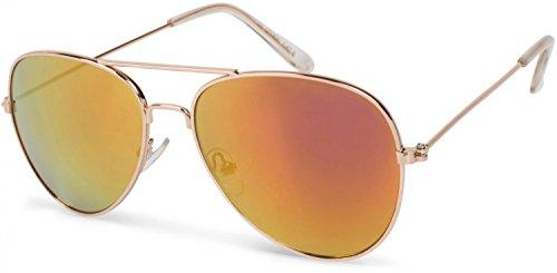 styleBREAKER Kinder Pilotenbrille mit Edelstahl Metall Gestell, Sonnenbrille 09020059, Farbe:Gestell Gold/Glas Orange-Rot verspiegelt