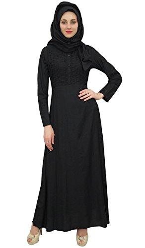 Bimba Frauen-Voll Sleeve Black Muslim Kleidung Abaya Maxikleid mit Hizab-38