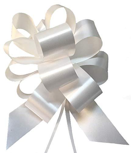 B-black® 50 Stück fertige Deko-Schleifen für Hochzeiten, Taufen, etc, weiß, rosa, hellblau, rot, Band 5 cm, Länge 15 cm, Durchmesser 16 cm, für PKW, Motorrad BIANCO