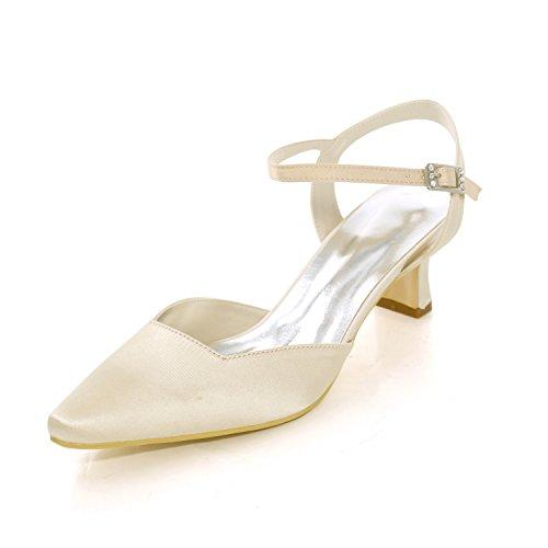 Scarpe da donna in raso primavera estate scarpe da sposa di base scarpe tacco largo fibbia punta quadrata per la festa nuziale e serata avorio,ivory,41