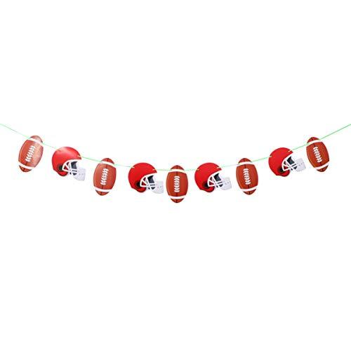 Amosfun Thema-Schnur Der Fußballgeburtstagsfahne des Amerikanischen Fußballs Kennzeichnet Wimpelgirlandenflagge für Sportverein-Geburtstagsfeierdekorationen