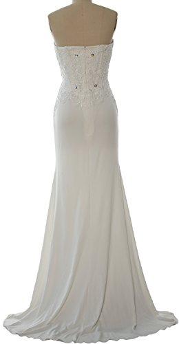 MACloth Women Mermaid Strapless Jersey Prom Dress Wedding Party Evening Gown Braun