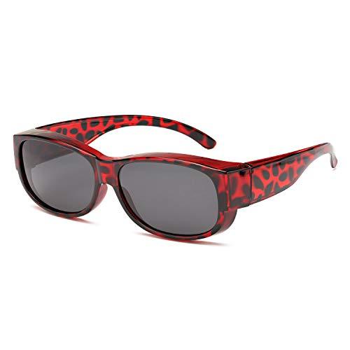 SIPHEW Sonnenbrillen für Brillenträger Antireflexbeschichtung 100% UVA/UVB schutz-Überzieh Sonnenbrillen Herren und Damen (Roter Leopard)