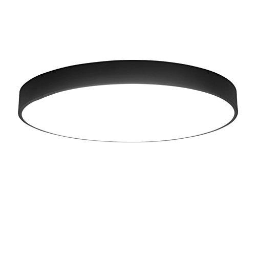 Lilamins Minimalt ultraflaches Design LED Deckenleuchte runde Wohnzimmer Schlafzimmer Restaurant Studie Einhaltung Ale Balkon Lampen, Schwarz Weiß Lampengehäuse