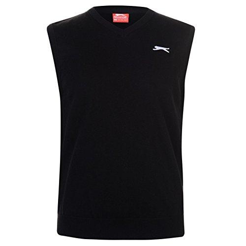 Slazenger Herren Golf Pullover Ärmellos V Ausschnitt Schwarz L