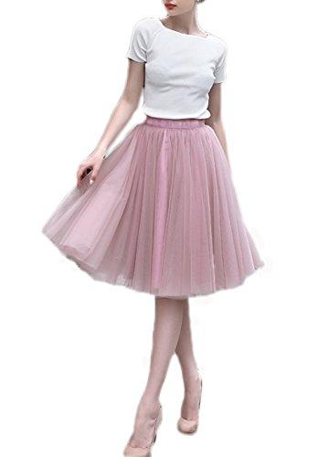 Bridal_Mall Damen Midi Fluffy Tüll Tutu-Rock Krinoline Hoopless Underskirt Rosa