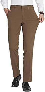 FLY HAWK Mens Dress Pants, Stretch Slim Fit Wrinkle Free Flat Front Suit Pants Slacks