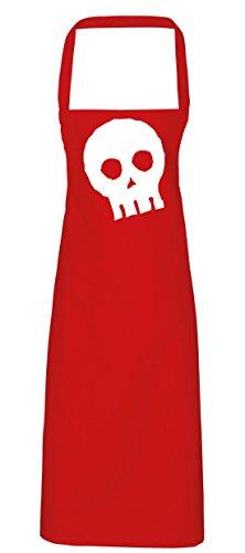 hippowarehouse Halloween Skull Schürze Küche Kochen Malerei DIY Einheitsgröße Erwachsene, rot, (Skull Candy Kostüm Red)