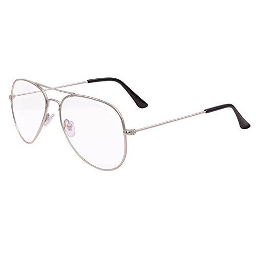 Hibote UV400 Aviator Brillen Clear Lens Geek / Nerd Retro Brille Rahmen Mode Eyewear für Männer Frauen - Anti-UV, Strahlenschutz