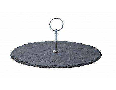 Plat en ardoise rond avec anse métal