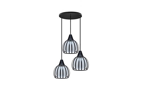 Finike Black & White Round Metalic Pendant Light (Set of 3)