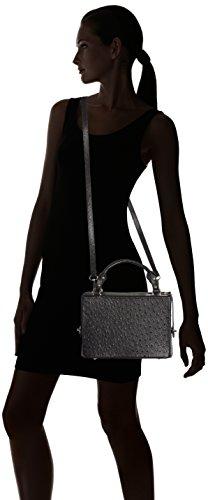 CTM Hand der Frau, Kupplung mit Straußen patter in echtem italienischem Leder 26x18x13 Cm Schwarz (Nero)