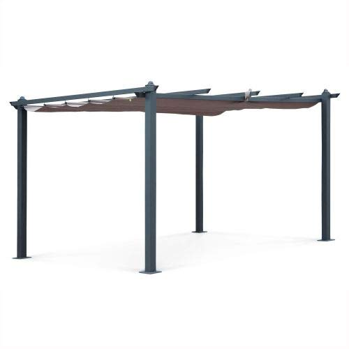 Alice's Garden Pergola Aluminium - Condate 3x4m - Toile Taupe - Tonnelle idéale pour Votre terrasse, Toit Retractable, Toile coulissante, Structure Aluminium