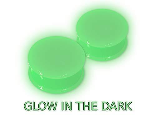 Fly Style 1 Paar Silikon Plug Tunnel 12 Farben (4-30 mm), Grösse:8 mm, Farbwahl:grün (Glow in The Dark)