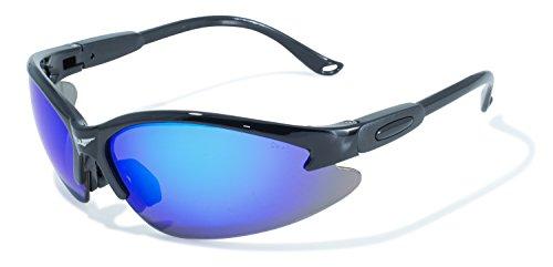Global Vision Eyewear Cougar Sicherheit Sonnenbrille mit schwarzem Rahmen und G-Tech Blau Objektive