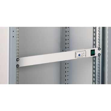 NSYCRTM1UVT-19-Frontplatte 1HE m. Schalter und Thermostat, f. Belüftung in RAL (Vm Schalter)