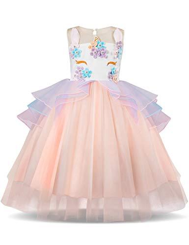 NNJXD Mädchen Einhorn Blume Rüschen Cosplay Party Hochzeit Prinzessin Kleid Größe (130) 6-7 Jahre - Big Smile Kostüm