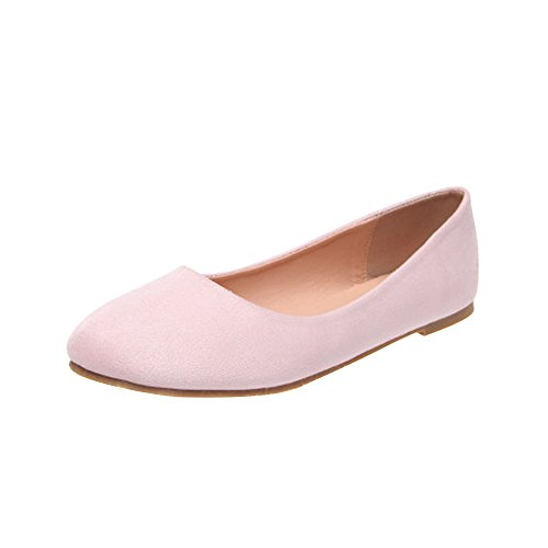 OCHENTA Femme Ballerine Plat Suedine Simple Mode Casual Rose