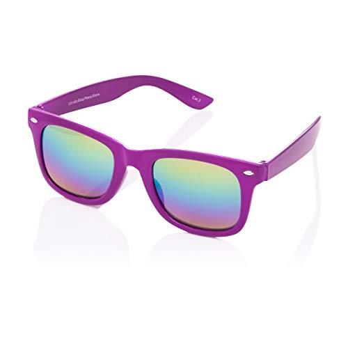 Ultra Lila Klassische Sonnenbrille für Kinder UV400 Schutz UVA UVB Unisex Mädchen Jungen Retro Vintage Brille