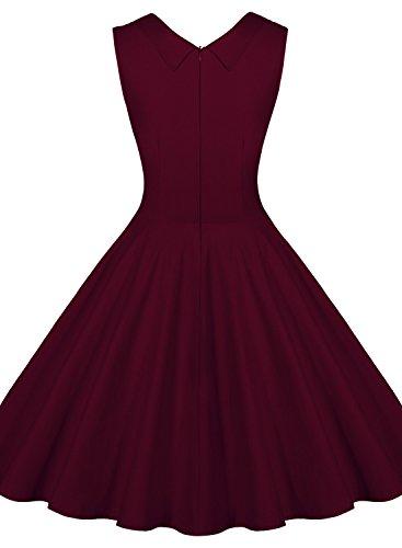 Miusol Damen Aermellos Sommerkleid 1950er Retro Cocktailkleid Petticoat Faltenrock Kleid Weinrot - 2