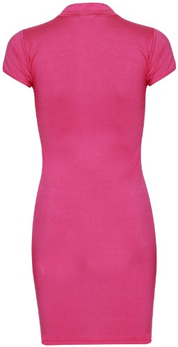 Purple Hanger - Damen Kleid Kurze Flügelärmel Rollkragen Enganliegendes Stretch Minikleid Top Kirschrot