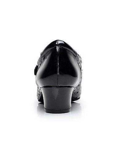 ShangYi Chaussures de danse (Noir/Blanc) - Non personnalisable - Gros talon - Similicuir - Moderne White